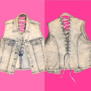 Vintage 90s lace up denim vest